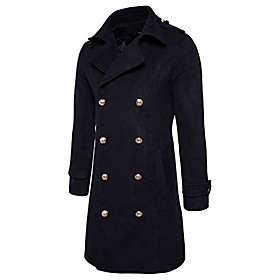men's trench coat long wool blend slim fit jacket winter double breasted overcoat