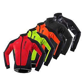 Arsuxeo Men's Cycling Jacket Winter Fleece Spandex Bike Windbreaker Winter Fleece Jacket...