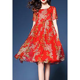 Women's A-Line Dress Short Mini Dress - Short Sleeve Floral Print Fall Elegant Party 2020 Blue Red S M L XL XXL 3XL