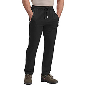men's joggers breathable fittness running jogging pants with zipper pockets black