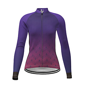 21Grams Women's Long Sleeve Cycling Jersey Winter Polyester Purple Gradient Bike Jersey Top Mountain Bike MTB Road Bike Cycling Quick Dry Back Pocket Sports Cl