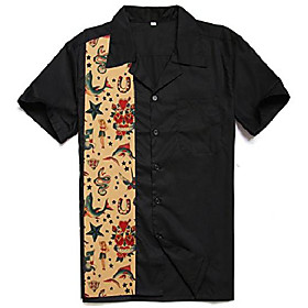 men's 50s male clothing rockabilly style casual cotton blouse mens fifties bowling dress shirts (xl) black