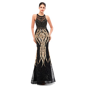Mermaid / Trumpet Celebrity Style Beautiful Back Engagement Formal Evening Dress Jewel Neck Sleeveless Floor Length Tulle Sequined with Beading Sequin 2020
