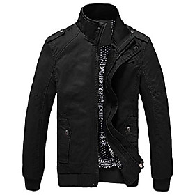 men's casual fitted stand collar cotton jacket with shoulder straps (xx-large, d/black)