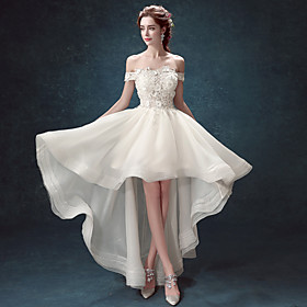 Ball Gown Wedding Dresses Off Shoulder Asymmetrical Lace Tulle Cap Sleeve Romantic Elegant with Crystals Appliques 2020