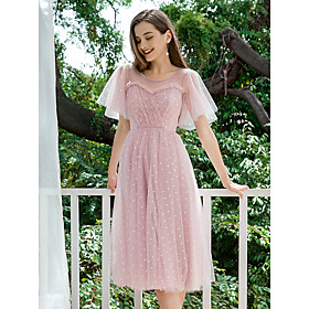 Women's A-Line Dress Maxi long Dress - Short Sleeve Polka Dot Ruffle Spring Summer Casual Elegant Holiday Going out Loose 2020 Blushing Pink S M L XL XXL