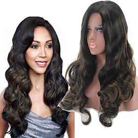 Synthetic Wig Curly Body Wave Middle Part Wig Long Black / Brown Synthetic Hair Women's Fashionable Design Classic Black