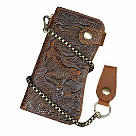 men's genuine leather long wallet chain wallet card holder wallet with coin pocket (tiger)