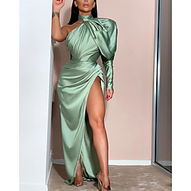 Sheath / Column Minimalist Sexy Prom Formal Evening Dress One Shoulder Long Sleeve Floor Length Stretch Satin with Pleats Ruched Split 2020