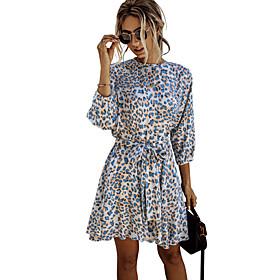Women's A-Line Dress Knee Length Dress - Long Sleeve Striped Print Summer Casual Cotton Slim 2020 Blue Orange S M L XL XXL