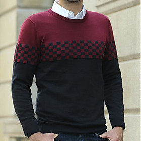 Men's Basic Color Block Pullover Cotton Long Sleeve Sweater Cardigans Crew Neck Fall Wine Light gray Dark Gray