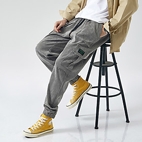Men's Basic Streetwear Party Going out Jogger Chinos Pants Solid Colored Drawstring Outdoor Black Brown Gray M L XL