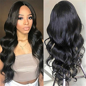 Synthetic Wig Body Wave Middle Part Wig Long Very Long Black Synthetic Hair 65 inch Women's Party Middle Part Fluffy Black