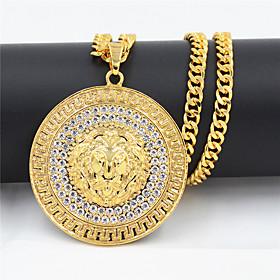 Men's Women's Clear Cubic Zirconia Pendant Necklace Necklace Lion European Hip Hop Zircon Chrome Gold 75 cm Necklace Jewelry 1pc For Street Sport Gift Masquera