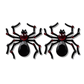 Women's Hoop Earrings Hollow Out Skull Spiders Statement Stylish Earrings Jewelry White / Black / Red For Halloween Carnival 2pcs