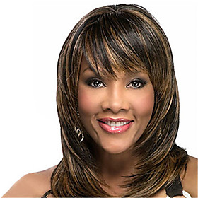 Synthetic Wig Curly Bouncy Curl With Bangs Wig Medium Length Dark Brown Synthetic Hair Women's Classic Color Gradient Dark Brown