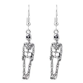 Women's Hoop Earrings Retro Skull Vintage Earrings Jewelry Silver For Halloween 2pcs
