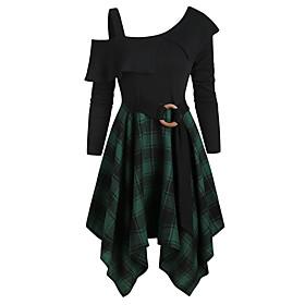 Women's A-Line Dress Short Mini Dress - Long Sleeve Check Patchwork Fall Boat Neck Casual Slim 2020 Black Red Green S M L XL XXL 3XL