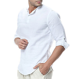 Men's Ceremony Shirt Solid Color Long Sleeve Tops Cotton Classic Round Neck Light Blue White Black / Fall