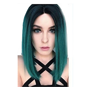 Synthetic Wig Straight Bob Middle Part Wig Short Mint Green Synthetic Hair 14 inch Women's Adorable Ombre Hair Natural Hairline Green