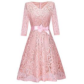 Women's A-Line Dress Knee Length Dress - 3/4 Length Sleeve Solid Color Lace Bow Summer V Neck Elegant Slim 2020 Blushing Pink Wine Beige Gray S M L XL XXL 3XL