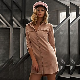 Women's Shirt Dress Short Mini Dress - 3/4 Length Sleeve Solid Color Patchwork Button Winter Shirt Collar Casual Slim 2020 Black Blue Red Khaki Green S M L XL