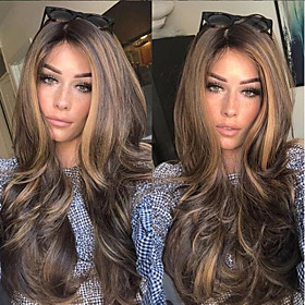 Synthetic Wig Body Wave Middle Part Wig Long Very Long Light Brown Synthetic Hair 65 inch Women's Party Highlighted / Balayage Hair Middle Part Brown