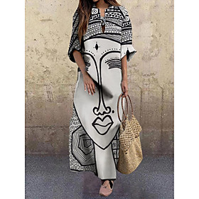 Women's A-Line Dress Maxi long Dress - 3/4 Length Sleeve Print Print Fall V Neck Elegant Hot Loose 2020 White Gray M L XL XXL 3XL 4XL 5XL