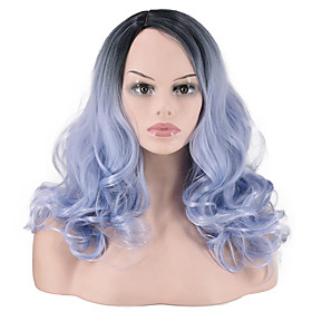 Synthetic Wig Curly Water Wave Pixie Cut Wig Long Light Blue Synthetic Hair Women's Fashionable Design Party Fluffy Blue