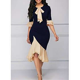 Women's Sheath Dress Knee Length Dress - Short Sleeve Solid Color Ruffle Patchwork Spring Casual Sexy Slim 2020 Navy Blue S M L