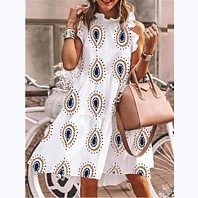 Women's A-Line Dress Knee Length Dress - Sleeveless Print Summer Elegant Loose 2020 White S M L XL XXL 3XL