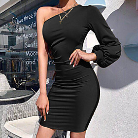 Women's Sheath Dress Short Mini Dress - Sleeveless Solid Color Patchwork Summer One Shoulder Sexy Club 2020 Black Khaki S M L XL