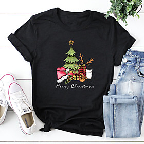 Women's Christmas T-shirt Plants Letter Print Round Neck Tops 100% Cotton Basic Christmas Basic Top Black Purple Blushing Pink