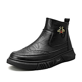 Men's Boots Classic / Vintage / British Outdoor Office  Career Microfiber Non-slipping Wear Proof Dark Grey / Black Fall / Winter