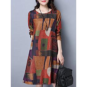 Women's A-Line Dress Knee Length Dress - Long Sleeve Print Fall Casual Hot vacation dresses Cotton 2020 Purple Orange M L XL XXL