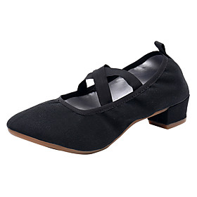 Women's Dance Shoes Latin Shoes / Modern Shoes / Ballroom Shoes Flat Splicing Thick Heel Customizable Black / Red / Pink / Performance / Practice