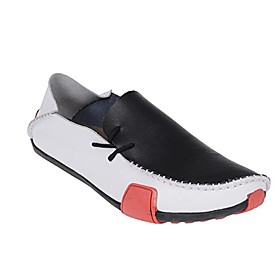men's comfort driving car soft flats loafers casual walking shoes (12.5d(m) us, white/black)