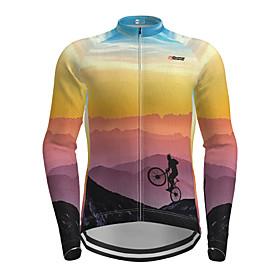 Men's Long Sleeve Cycling Jersey Purple Novelty Bike Jersey Top Mountain Bike MTB Road Bike Cycling Quick Dry Sports Clothing Apparel / Micro-elastic