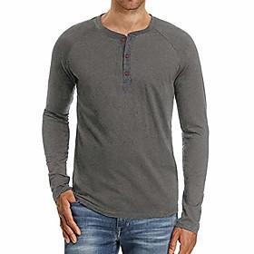 men's casual regular-fit basic shirt long sleeve henley t-shirt (b# gray, s)