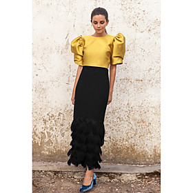 Women's Two Piece Dress Maxi long Dress - Half Sleeve Solid Color Patchwork Fall Casual 2020 White Black Yellow S M L XL