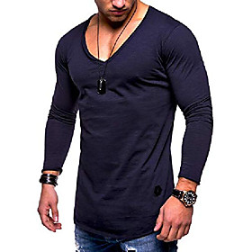 men's basic v-neck casual fashion hipster t-shirt muscle longline tee casual premium top mt-7314 (s,navy)