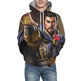 Men's Weekend Pullover Hoodie Sweatshirt Graphic Portrait Hooded Casual Hoodies Sweatshirts  Long Sleeve Brown
