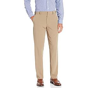 men's 4-way stretch temp control straight fit dress pant, khaki, 38w x 30l