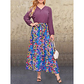 Women's Swing Dress Maxi long Dress - Long Sleeve Print Patchwork Print Fall V Neck Casual Cotton Loose 2020 Purple L XL XXL 3XL 4XL 5XL