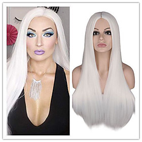 Synthetic Wig Straight Middle Part Wig Long White Synthetic Hair 26 inch Women's Fashionable Design Natural Hairline Exquisite White
