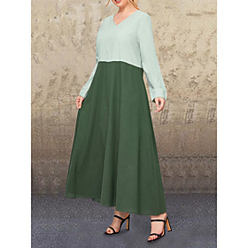 Women's Swing Dress Maxi long Dress - Long Sleeve Solid Color Patchwork Fall V Neck Casual Cotton Loose 2020 Green L XL XXL 3XL 4XL 5XL