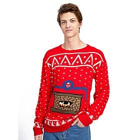 Men's Christmas Geometric Pullover Acrylic Fibers Long Sleeve Sweater Cardigans Crew Neck Winter Red