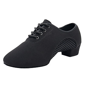 Women's Dance Shoes Latin Shoes / Modern Shoes / Ballroom Shoes Heel Splicing Thick Heel Customizable Black / Performance / Salsa Shoes / Practice