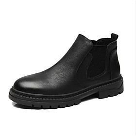 Men's Boots Casual Daily PU Non-slipping Wear Proof Booties / Ankle Boots Black Fall / Winter