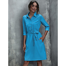 Women's A-Line Dress Knee Length Dress - Half Sleeve Solid Color Patchwork Fall Shirt Collar Casual Loose 2020 Black Red Yellow Army Green Navy Blue Light Blue